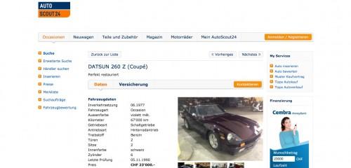 DATSUN 260 Z, Occasion, Benzin, 67'000 km, CHF 23'000.- - AutoScout24 2015-01-07 15-29-52